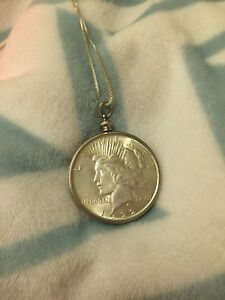1922 PEACE DOLLAR IN STERLING SILVER & STERLING SILVER NECKLACE