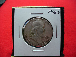 Click now to see the BUY IT NOW Price! 1952 D   BEN FRANKLIN   HALF  DOLLAR      50 CENT PIECE   COIN   52D  GOOD GRADE