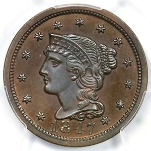 Click now to see the BUY IT NOW Price! 1847 N 42 R 6  PCGS PR 64 BN CAC BRAIDED HAIR LARGE CENT COIN 1C