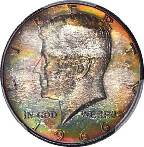 Click now to see the BUY IT NOW Price! 1966 50C KENNEDY HALF DOLLAR   TYPE 2 SILVER CLAD PCGS MS67  PLUS TONER