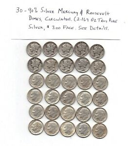 1 LOT OR THIRTY  30  90  SILVER DIMES CIRCULATED VARIOUS CONDITION & DATES