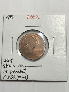 Click now to see the BUY IT NOW Price! ERROR 1986 QUARTER 25 CENTS STRUCK ON PENNY 1 CENT PLANCHET 2.52GRAMS