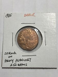 Click now to see the BUY IT NOW Price! ERROR 1985 QUARTER 25 CENTS STRUCK ON PENNY 1 CENT PLANCHET 2.52 GRAMS