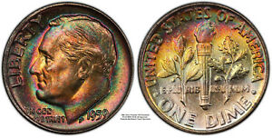 Click now to see the BUY IT NOW Price! 1959 SILVER ROOSEVELT DIME CERTIFIED PCGS SUPERB GEM MS67  FB QA PQ TONING