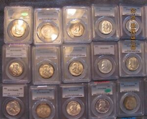 Click now to see the BUY IT NOW Price! COMPLETE FRANKLIN HALF DOLLAR SET 1948 1963 PDS GRADED BY PCGS IN UNC & PROOF