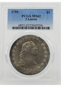 Click now to see the BUY IT NOW Price! 1795 $1 FLOWING HAIR DOLLAR THREE LEAVES PCGS MS62