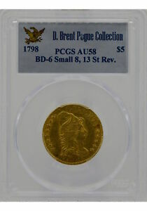 Click now to see the BUY IT NOW Price! 1798 $5 DRAPED BUST HALF EAGLE BD 6 SMALL 8 13 ST REV PCGS AU58