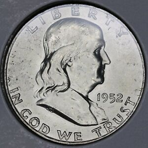 1952D FRANKLIN HALF CHOICE UNCIRCULATED FULL BELL LINES.