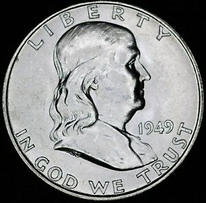 1949D FRANKLIN HALF CHOICE UNCIRCULATED FULL BELL LINES