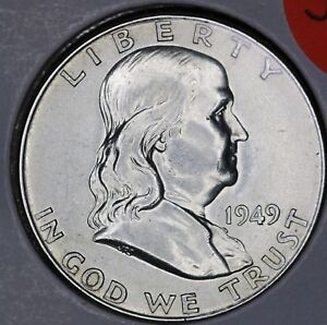 1949D FRANKLIN HALF CHOICE UNCIRCULATED FULL BELL LINES.
