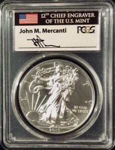 Click now to see the BUY IT NOW Price!     2015 P SILVER EAGLE PCGS MS70 MERCANTI SIGNED LABEL 79 640 MINTED POP 58