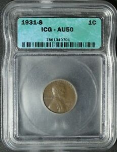Click now to see the BUY IT NOW Price! 1931 S LINCOLN WHEAT CENT PENNY ICG AU 50   ALMOST UNCIRCULATED