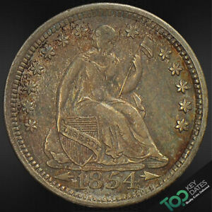 1854 O  H10 TYPE 4 ARROWS AT DATE SEATED LIBERTY HALF DIME   AU ALMOST UNCIRCU
