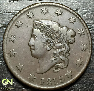 1819 CORONET HEAD LARGE CENT N3 R3         MAKE US AN OFFER   O2841