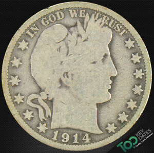 1914  50 BARBER HALF DOLLAR   VG GOOD   6530JU2