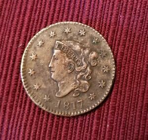 1817 LARGE CENT PENNY 13 STARS  CORONET HEAD  EXTRA FINE DETAILS