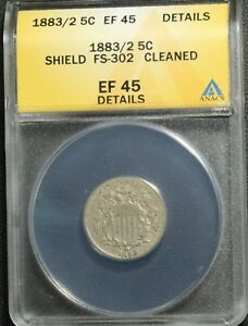 Click now to see the BUY IT NOW Price! 1883/2 FS 302 SHIELD NICKEL ANACS XF 45 DETAILS    OVERDATE