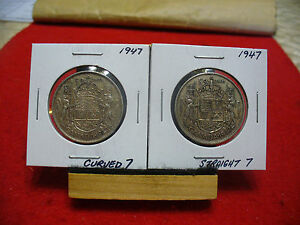 Click now to see the BUY IT NOW Price! LOT OF 2 CANADA  SILVER  HALF  DOLLAR  50 CENT PIECE  1947 C. AND S.  SEMI KEY'S