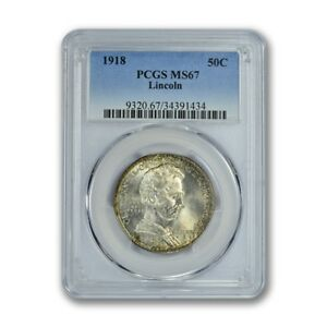 Click now to see the BUY IT NOW Price! LINCOLN 1918 50C SILVER COMMEMORATIVE PCGS MS67