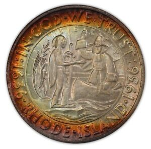 Click now to see the BUY IT NOW Price! RHODE ISLAND 1936 50C SILVER COMMEMORATIVE PCGS MS67 2778 32 COLOR   CAC