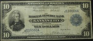 Click now to see the BUY IT NOW Price! 1915 $10 FEDERAL RESERVE NATIONAL NOTE    FR817A1   TEN DOLLAR KANSAS CITY