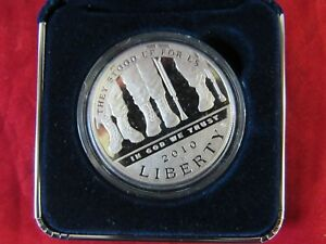 2010 WESTPOINT DISABLED VETERANS 90  COMMEMORATIVE SILVER DOLLAR  12328 DOLLA A