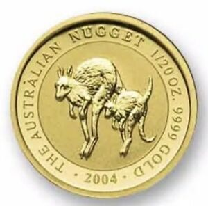 2004 NUGGET KANGAROO PERTH MINT 1/20 OZ GOLD IN MINT CAP