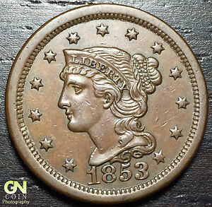 1853 BRAIDED HAIR LARGE CENT  N7 R3      MAKE US AN OFFER   O3010