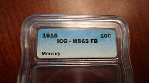 1916 P MERCURY DIME. GRADED BY ICG MS63FB. TONED