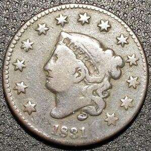 1831 CORONET/MATRON HEAD LARGE CENT N 8 R 3 NICE COIN FOR YOUR COLLECTION B 16