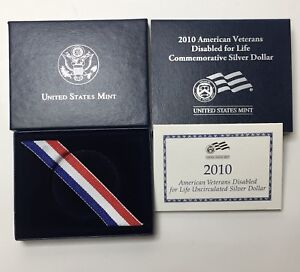 BOX & COA ONLY   2010 WEST POINT US MINT DISABLED VETERANS $1 COMMEMORATIVE