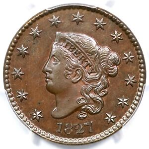 Click now to see the BUY IT NOW Price! 1827 N 1 R 8 PCGS PR 64 BN MATRON OR CORONET HEAD LARGE CENT COIN 1C