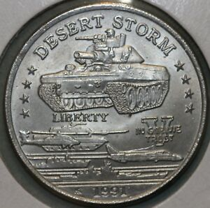 1991 HUTT RIVER PROVINCE  DESERT STORM  5 DOLLAR LARGE COIN TANK COMBINED S. & H