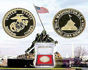 US MARINE CORPS COLLECTABLE GOLD CHALLENGE COIN IWO JIMA USMC EAGLE GLOBE ANCHOR