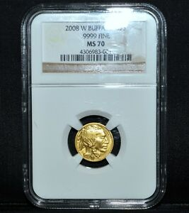 2008 W $5 GOLD BUFFALO  NGC MS 70  1/10 OZ G$5 .9999 FINE OZT 001 TRUSTED