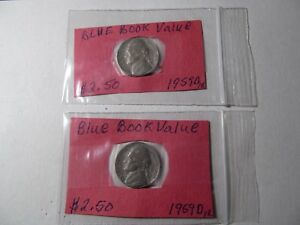 JUNK DRAWER COINS TWO 1959D US NICKELS LOT