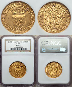 Click now to see the BUY IT NOW Price! A SUPERB HIGH GRADE CHARLES VI  1380  1422  GOLD ECU DOR NGC MS 63