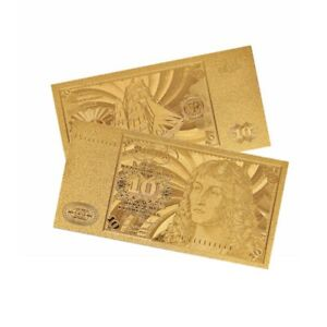 1PC 1960 GERMANY 10 MARK GOLD PLATED BANKNOTE PAPER COIN MONEY COLLECTION LOTS