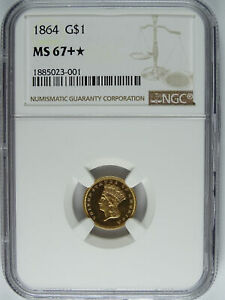Click now to see the BUY IT NOW Price! 1864 P $1.00 GOLD DOLLAR NGC MS 67  4142
