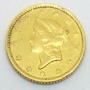 1853 TYPE 1 LIBERTY HEAD GOLD DOLLAR COIN WITH MOUNT   .900 FINE GOLD VF OBVERSE