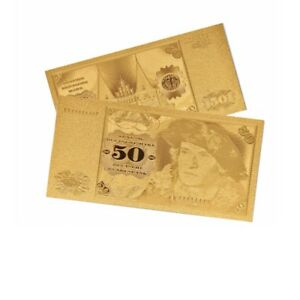 1PC 1960 GERMANY GOLD PLATED BANKNOTE  50 MARKPAPER COIN MONEY COLLECTION LOTS