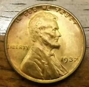 1937 LINCOLN WHEAT CENT PENNY HIGHER GRADE NICE LIGHT TONING