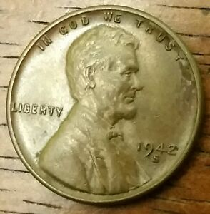 1942S LINCOLN WHEAT CENT PENNY MS   60