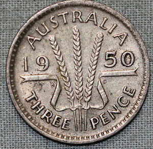 1950  AUSTRALIA 3 PENCE   KM44   KING GEORGE VI   .0227 ASW COMBINED S.& H.