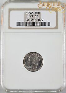 1942 NGC MS 67 MERCURY DIME 10C TEN CENTS MINT STATE  M161