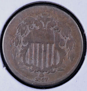 ERROR 1867 5C SHIELD NICKEL NO RAYS PLANCHET FLAW   G CLEANED