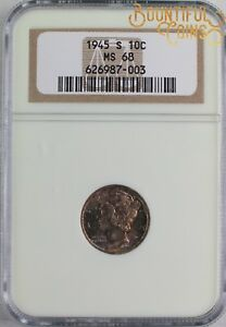 1945 S NGC MS 68 MERCURY DIME 10C TEN CENTS TONED  U92