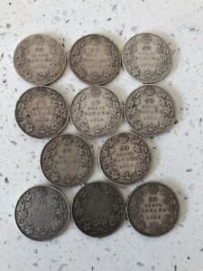 LOT OF 11 STERLING SILVER 50 CENT CANADA PCS 1908 1916 1918 5X1919 2X29 34