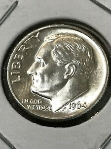 1964 D ROOSEVELT DIME 90  SILVER CHOICE BU US COIN FROM ORIGINAL BANK ROLL UNC.