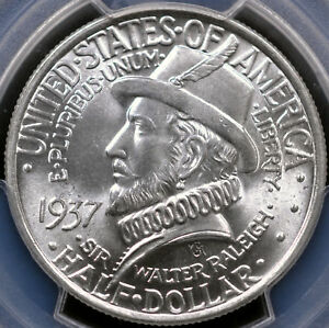 1937 50C ROANOKE COMMEMORATIVE HALF DOLLAR   PCGS MS66  35681013